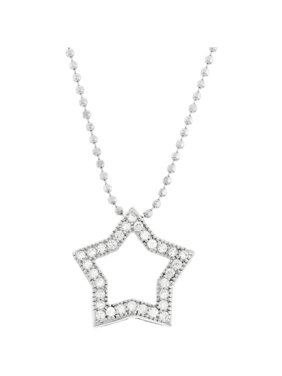 Sterling Silver Open Star with CZ Stones Pendant Necklace