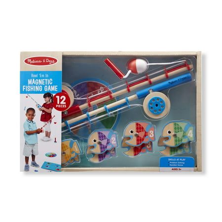 Melissa & Doug 12-Piece Magnetic Fish Wooden Fishing Game With Rods and Reels (Fishing Toys)