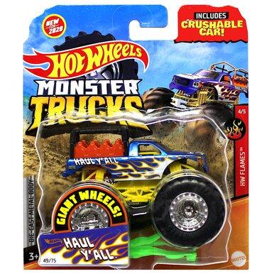 Haul Y All Hw Flames Monster Trucks With Crushable Car 1 64 Walmart Com Walmart Com