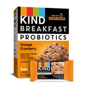 KIND Breakfast Probiotic Bars, Orange Cranberry, Gluten Free, 1.8oz, 4 Count