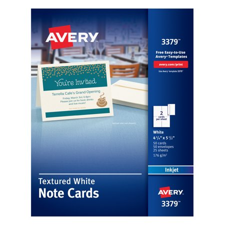 Avery Note Cards, Uncoated, Matte, Two-Sided Printing, 4-1/4