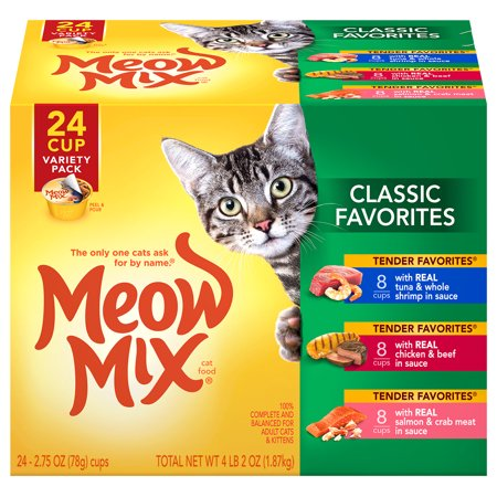 Meow Mix Classic Favorites Variety Pack, 2.75-Ounce Cans (Pack of 24) - Halloween Cat Meow Sound