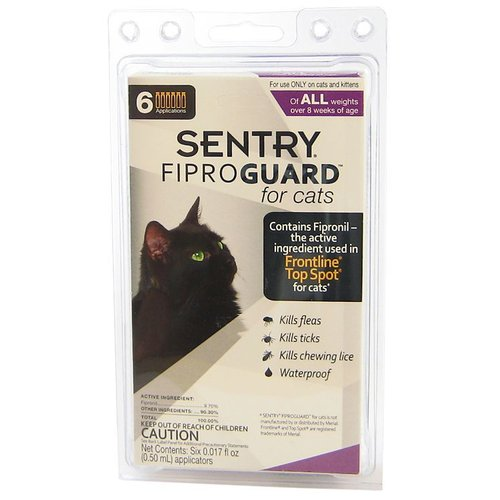 Sentry FiproGuard for Cats 6 Dose - (Cats All Sizes Over 8 Weeks Old)