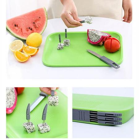 Non-Slip Cutting Board Set Includes  -Knife, 3 Mini Forks, BPA Free Board - Hidden Knives