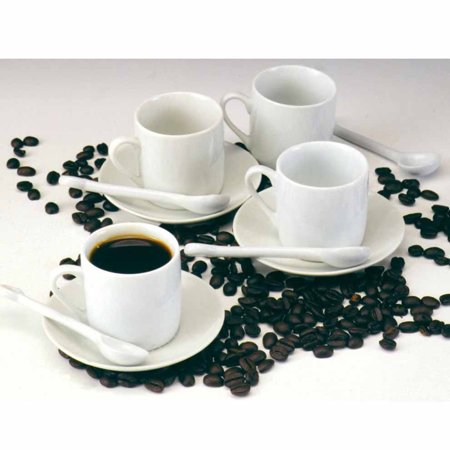 Norpro 12-Pc. Demitasse Set - White Espresso Moka Cups Saucers And Spoons 4 Each