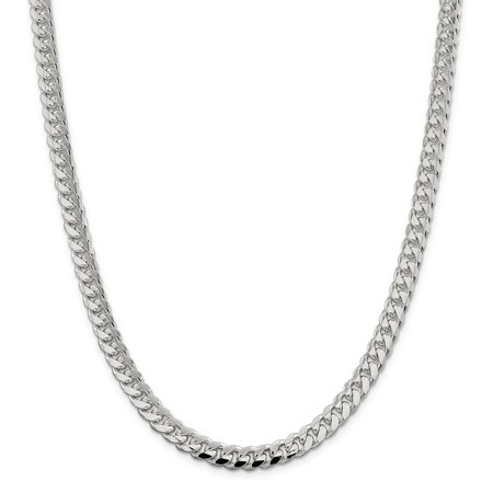 Sterling Silver 7.35mm Domed Curb Chain Bracelet or Necklace Dome Sterling Silver Necklace