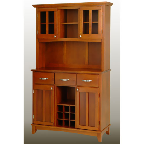 Home Styles Large Buffet with Two Glass Door Hutch, Cottage Oak with Cottage Oak Top