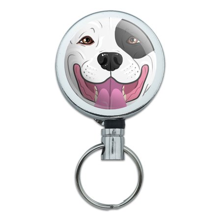 Pit Bull Face Black and White Dog Retractable Belt Clip Badge Key Holder