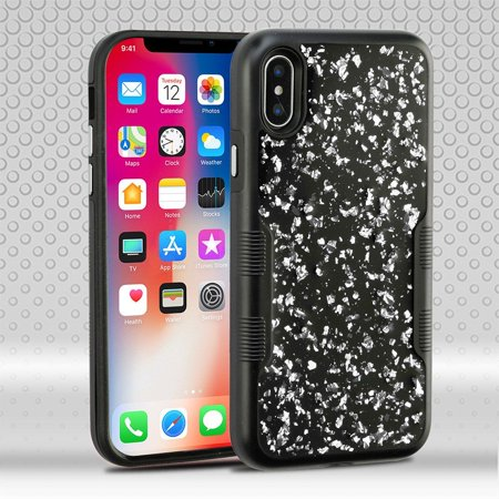 timeless design 1452c 60771 iPhone X Case Glitter, iPhone X Glitter Case, iPhone X Case, by Insten Tuff  Flakes Dual Layer Hybrid Case Cover For Apple iPhone X, Black/Silver ...