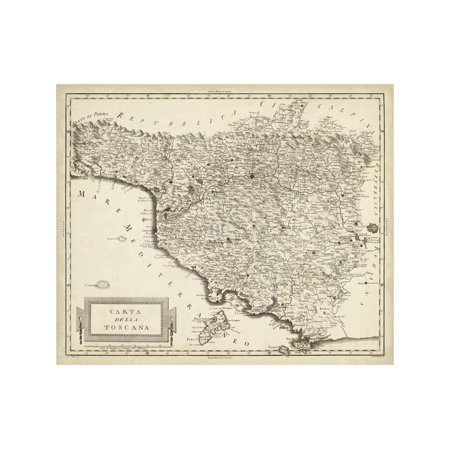 Original Antique Wall Map - Antique Map of Tuscany Print Wall Art