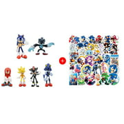6 Pcs Sonic Figure - Shadow, Werehog, Metal Sonic, Knuckles & Super Sonic! Included 25 PCS the Hedgehog Stickers!