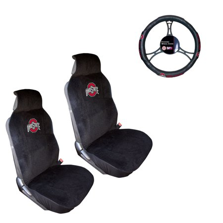 Ohio State University Buckeyes 2 Seat Covers And Wheel Cover