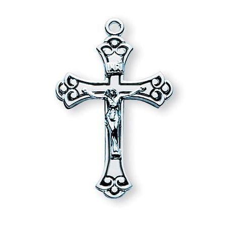 Sterling Silver Swirled Black Enameled Crucifix