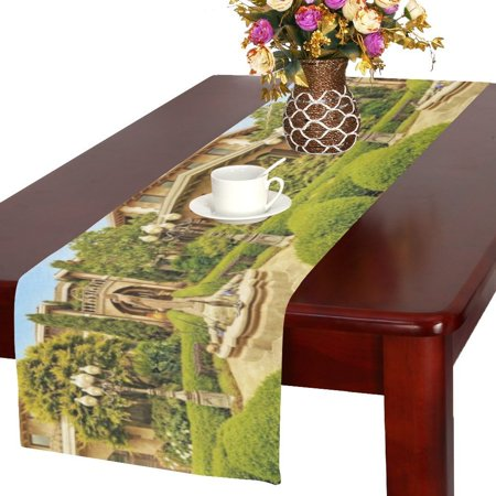 MYPOP Italian Country Villas Cotton Linen Table Runner 16x72 Inches