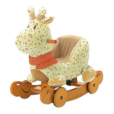 Giraffe Stuffed Toy - Labebe Child Rocking Horse Plush, Stuffed Animal Rocker Toy, 2 in 1 Yellow Giraffe Rocker with wheel for Kid 6-36 Months, Rocking Toy/Wooden Rocking Horse/Rocker/Animal Ride/Deer Rocker for Boy&Girl
