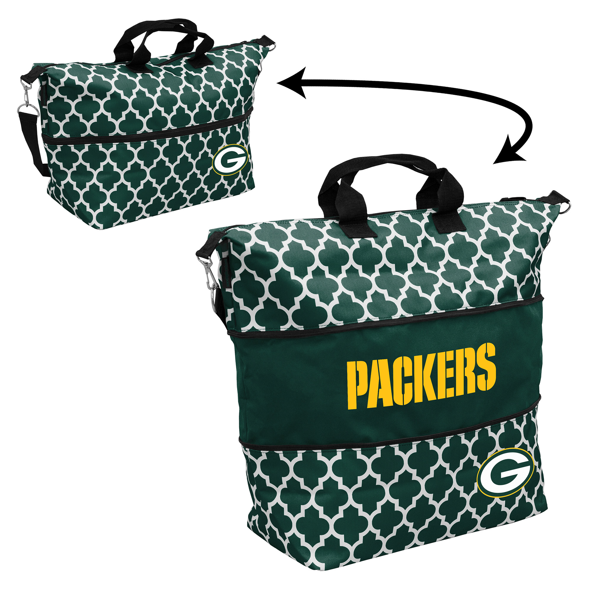 Green Bay Packers Quatrefoil Expandable Tote - No Size