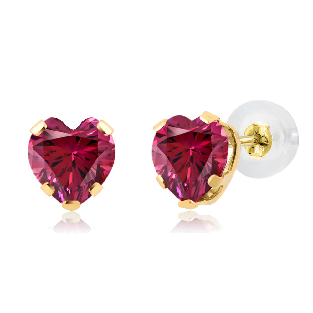 0.88 Ct Red 14k Yellow Gold Earrings Made With Swarovski Zirconia