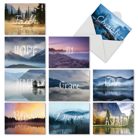 M6581TYG WORDSCAPES' 10 Assorted Thank You Notecards Featuring Inspirational Words Set in Both Serene and Majestic Landscapes, with Envelopes by The Best Card