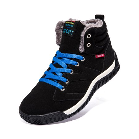 Men' Winter Sneaker Fur Lined Fashion Lace-Up High Top Skate Shoes Outdoor Warm Ankle Snow Boots (Male Ski Boots)