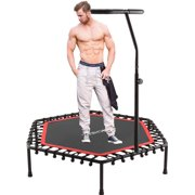 ANCHEER Mini Trampoline, Rebounder for Adults Kids Fitness, Trampolines Trainer with Adjustable Handle Bar for Indoor/Outdoor/Garden/Yoga Workout Exercise, Green