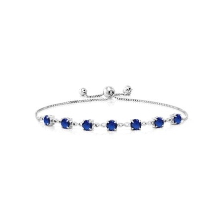 Ceramic Sapphire Bracelet - 2.45 Ct Round Blue Simulated Sapphire 925 Sterling Silver Bracelet