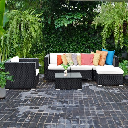 Costway 6 PC Patio Rattan Furniture Set Sectional Cushioned Seat Garden Black Wicker ()