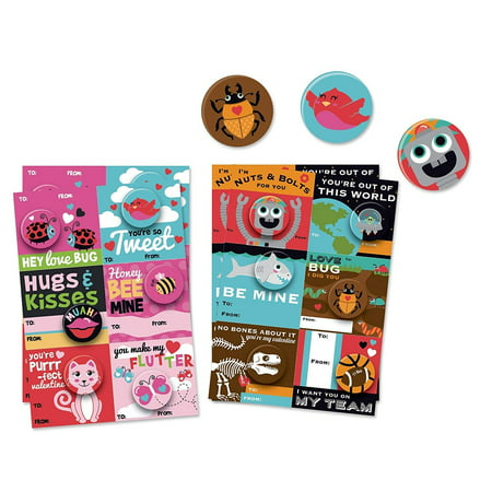 B-THERE 24 Count School Valentine Day Cards with Buttons, Fun and Cute Illustrated Cards with Matching Buttons for Kids Valentines -