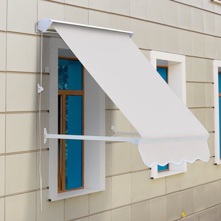low priced 1b450 41aaa 4ft Drop Arm Manual Retractable Window Awning - Cream