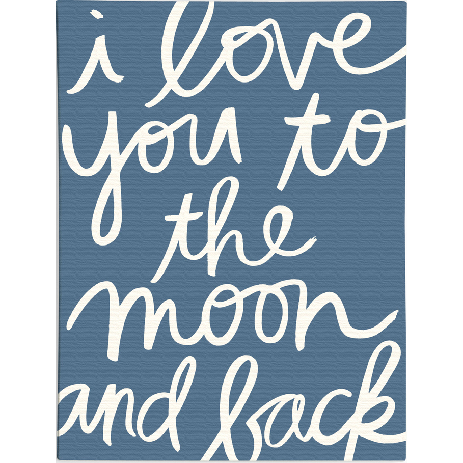 "RedEnvelope Love You to the Moon + Back Gallery Wall Art, 12"" x 16"", Blue"