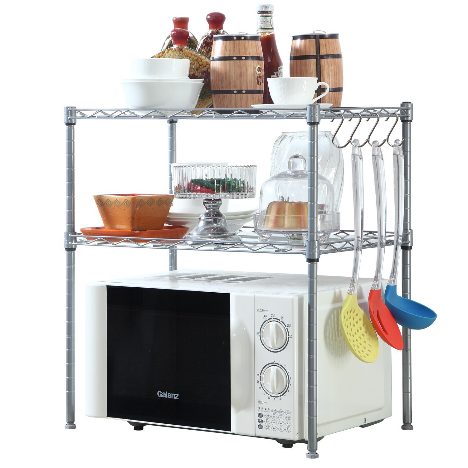 2 Tier Microwave Oven Rack Organiser Chrome with 2 Adjustable Shelves 8 Hooks