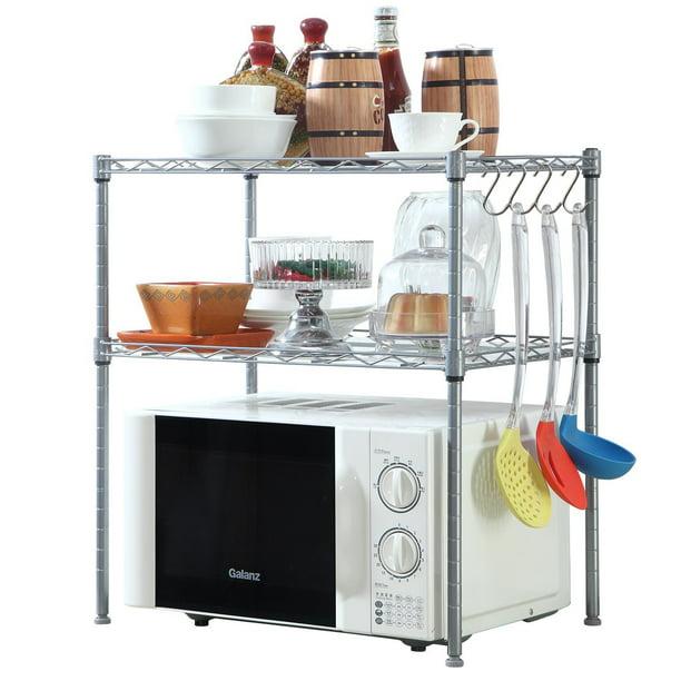 2 Tier Microwave Oven Rack Organiser Chrome with 2 Adjustable Shelves 8 Hooks