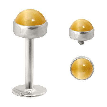 - 14K Gold  Gold Internally Threaded Labret With 4Mm Tiger Eye Honey Cabochon,Gauge (Thickness):14 (1.6Mm),14K White Gold,1/4