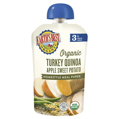 Dinner Baby Food - (4 Pack) Earth's Best Organic Stage 3 Baby Food, Turkey Quinoa Apple Sweet Potato Dinner, 3.5 Ounce