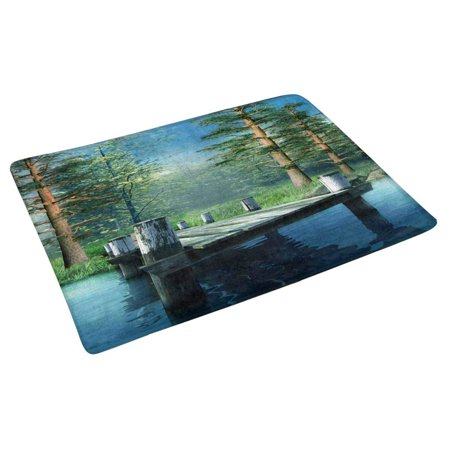 POP Wooden Pier on Blue Lake Doormat Non Slip Indoor/Outdoor Floor Mat Home Decor Entrance Rug 30x18 inches - image 2 of 3