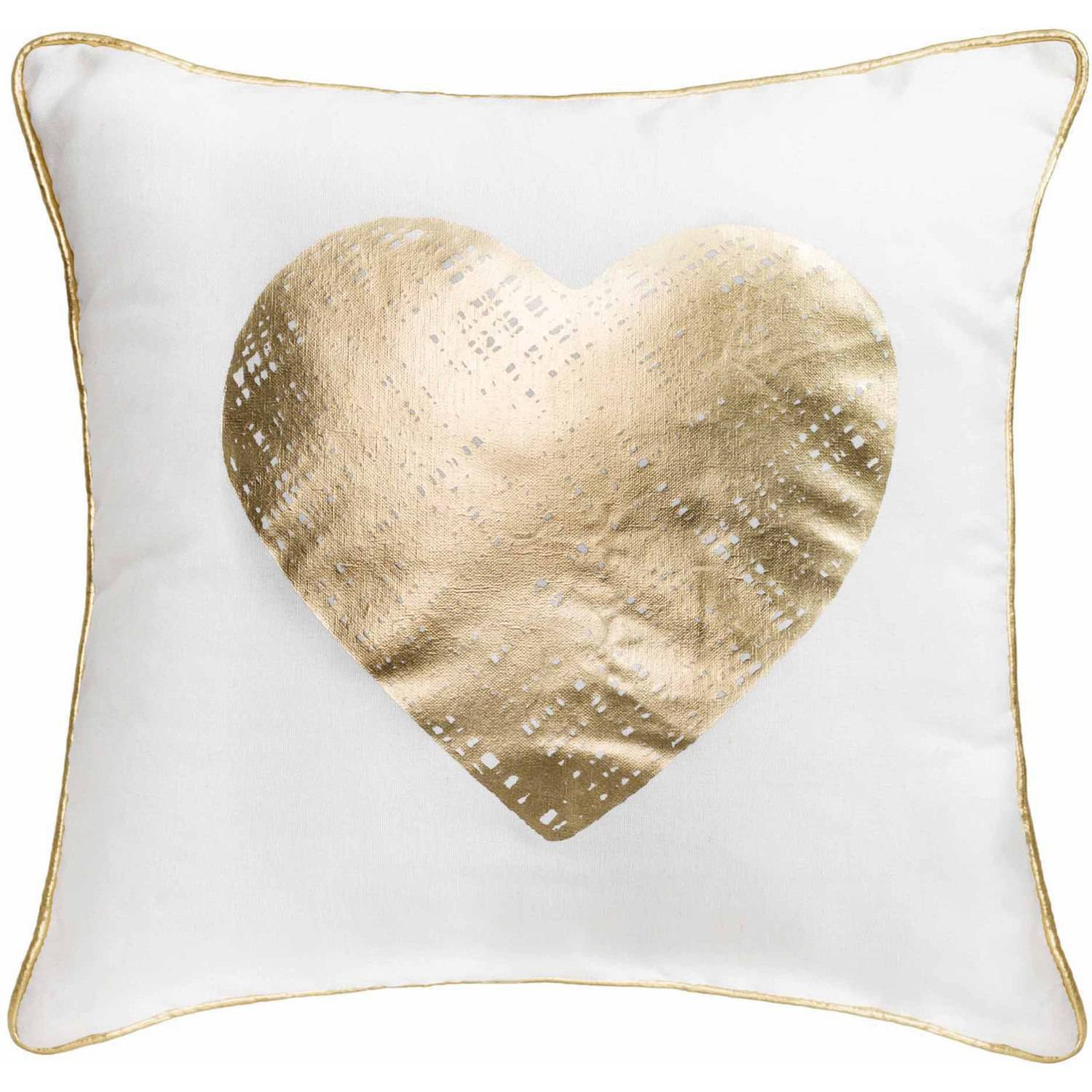 Better Homes and Gardens Gold Heart, Stylish Gold Foil Pillow with ...