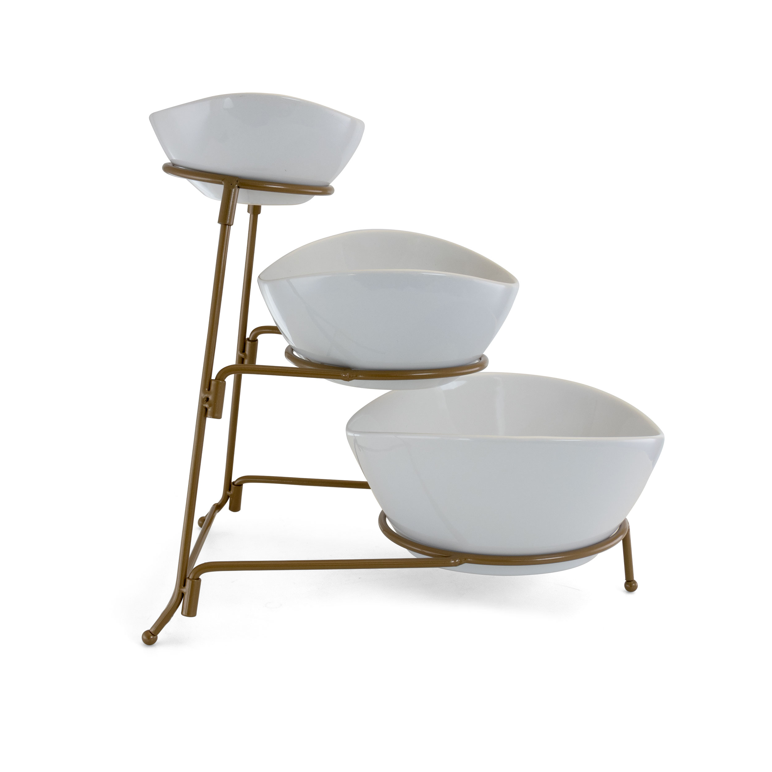 Three Tier Dessert And Snack Server Gibson 3 Tiered Oval Chip And Dip Set With Metal Rack Gold