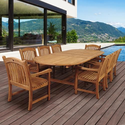 Amazonia Teak Giacomo 9-piece Teak Double Extendable Oval Patio Dining Room Set by Overstock