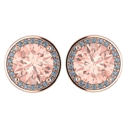 NANA Simulated Morganite Swarovski Zirconia Round Halo Earrings Sterling Silver with 14k post - Rose Gold Plated Rose Earring Posts
