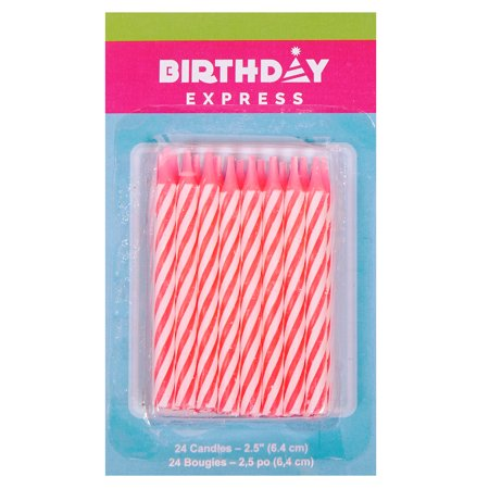 - Oasis Supply Candy Stripe Birthday Candles, 2.5-Inch, Pink
