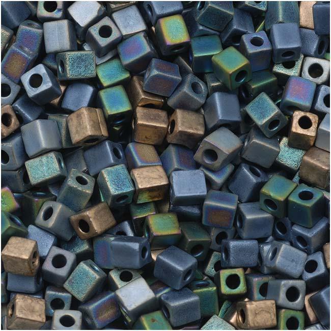 Miyuki 4mm Glass Cube Beads Color Mix Matte Heavy Metals 10 Grams