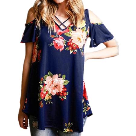 Off Shoulder Women Casual Floral Print Cross Chiffon Blouse Shirt