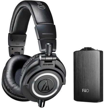Audio Technica Ath M50x Professional Studio Headphones  Black  With Fiio A3 Portable Headphone Amplifier  Black