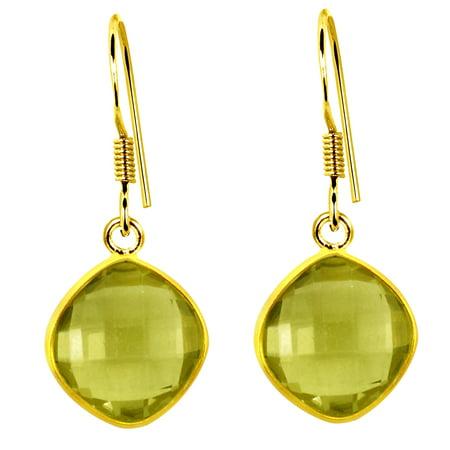 3.12 Carat Cushion Cut Yellow Lemon Quartz 925 Sterling Silver Dangle Earrings ()