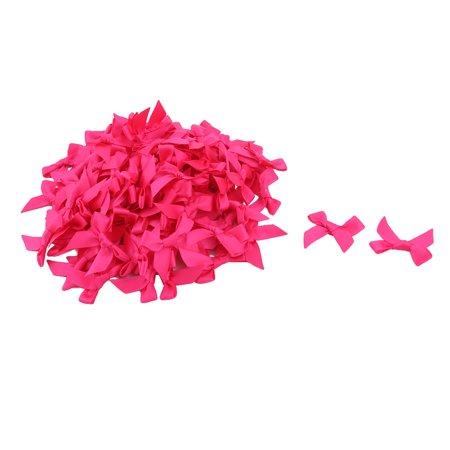 Home Birthday Polyester DIY Coat Scrapbook Ornament Bowknot Bow Hot Pink 100pcs