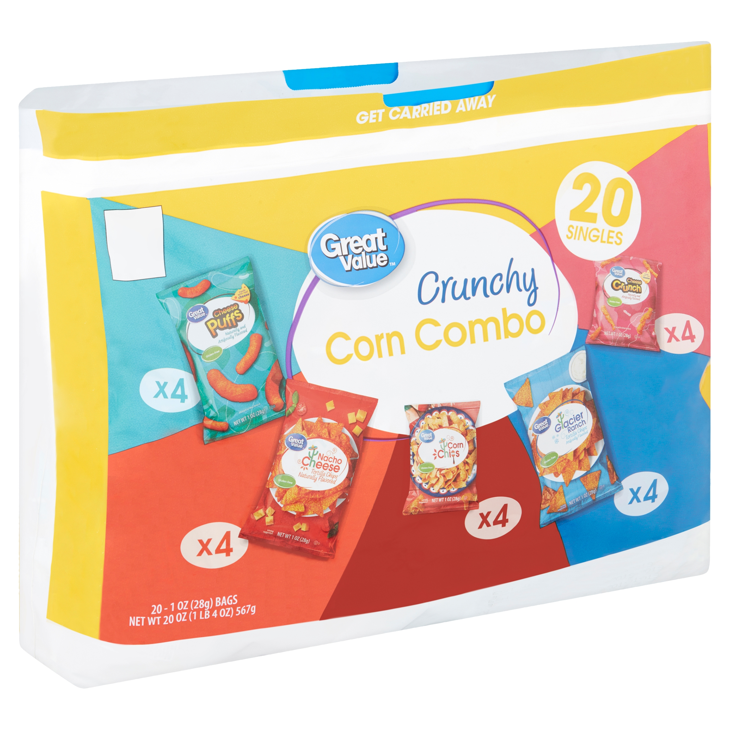 Great Value Crunchy Corn Combo Variety Snack Pack, 1 Oz., 20 Count
