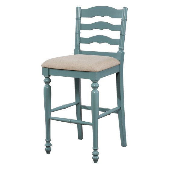 Linon Melva Bar Stool Antique Blue 30 Inch Seat Height