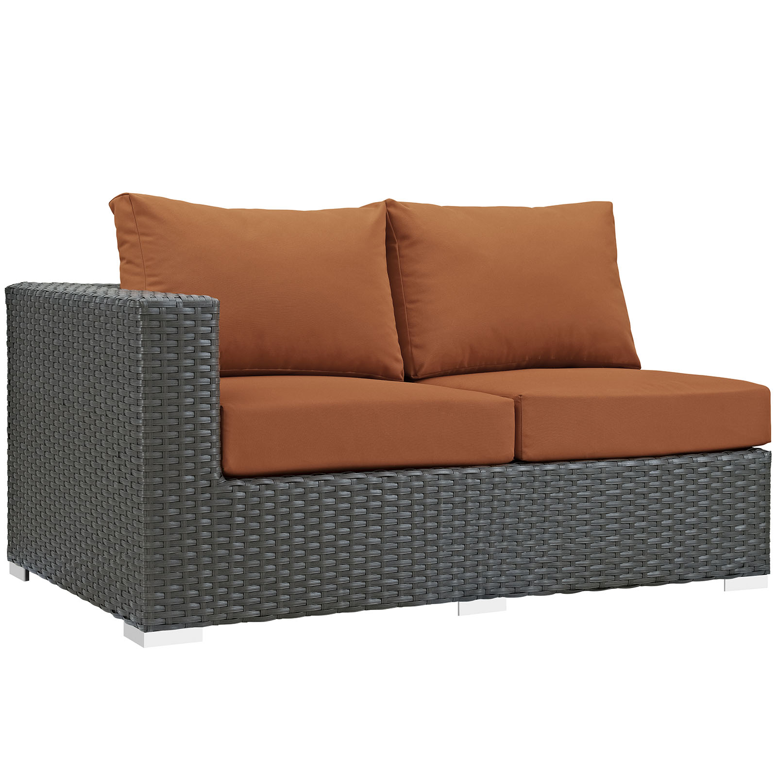 Modern Contemporary Urban Design Outdoor Patio Balcony Left Arm Loveseat Sofa, Orange, Rattan
