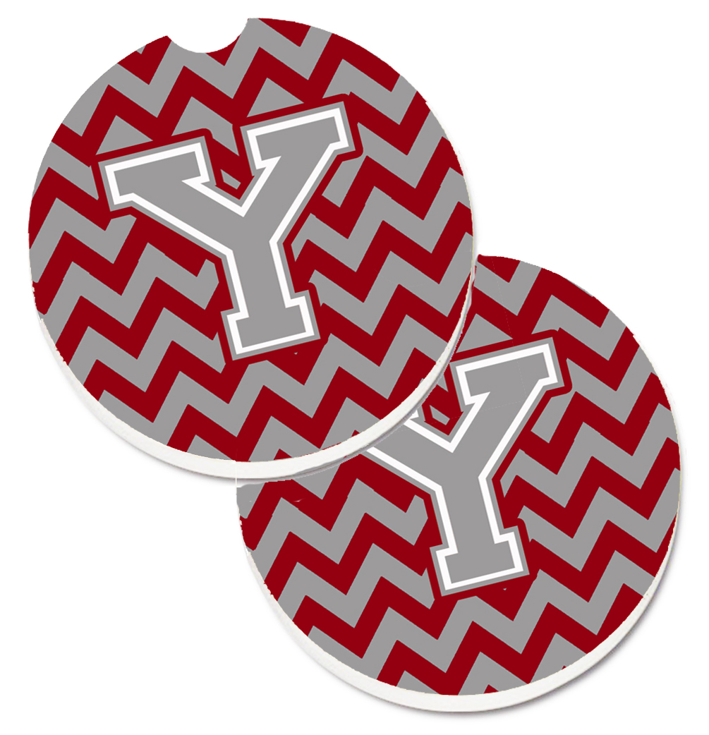 Letter Y Chevron Crimson and Grey   Set of 2 Cup Holder Car Coasters CJ1043-YCARC