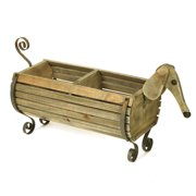 Exclusive Wooden Dachshund Flower Planter - Indoor/Outdoor Dog Barrel Container Holds Plants, Decor and Household Goods