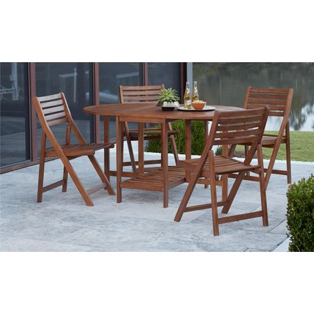 cosco outdoor living 5 piece acacia wood patio dining table and folding chair set with chair. Black Bedroom Furniture Sets. Home Design Ideas